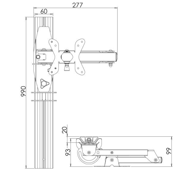Vertical dropdown TV Bracket with brake