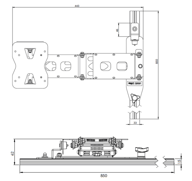 Vertical dropdown flat panel TV support with pull-out adjustment and wall embedded guide